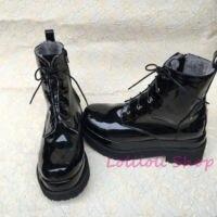 Панк Лолита Lolilloliyoyo antaina японский дизайн большие Туфли На заказ черный Высокий Верх двойная подошва обувь с яркими блестящими an4179