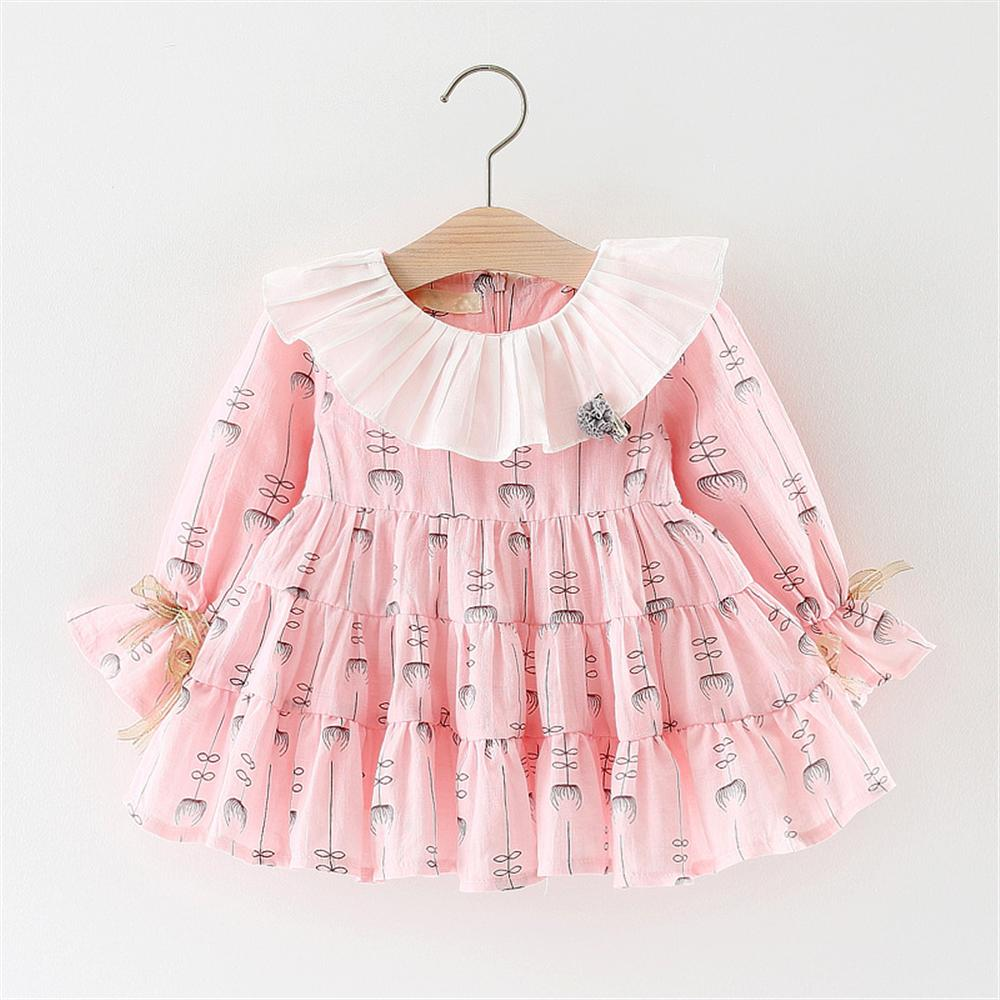 Baby Girls Dress 2018 New Summer Autumn Long Sleeve Baby Dress O-neck Ruffles Casual Infant Girls Clothes Pink White