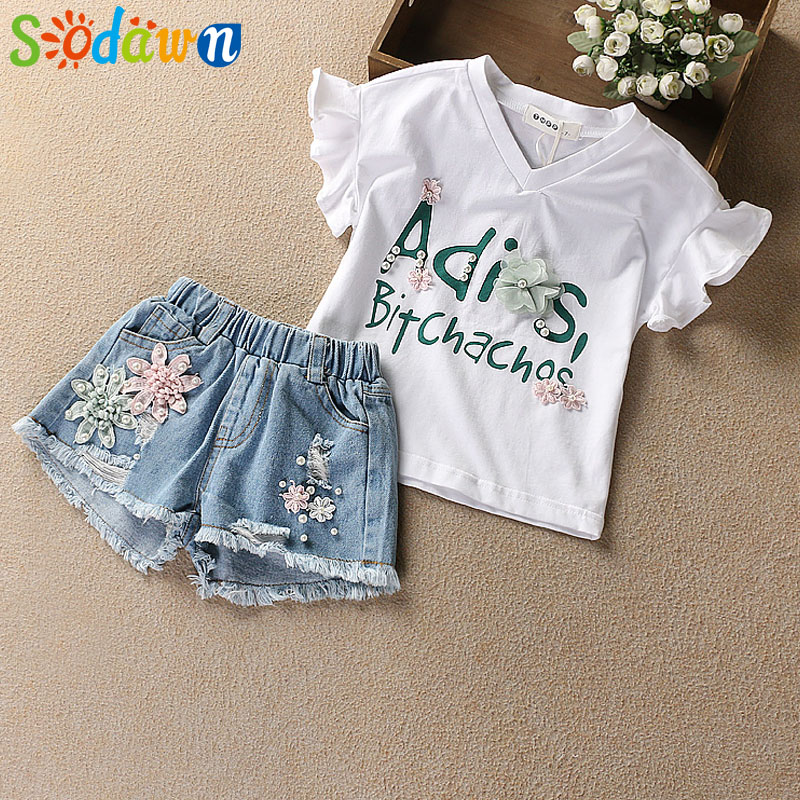 Sodawn 2018 Summer New Girl Clothes Flower Beads Design High Quality T-shirt + Shorts Fashion Girls Clothes Set Kids Clothing retail design children clothing set for kids girl dark blue cardigan t shirt pink skirt high quality 2014 new free shipping