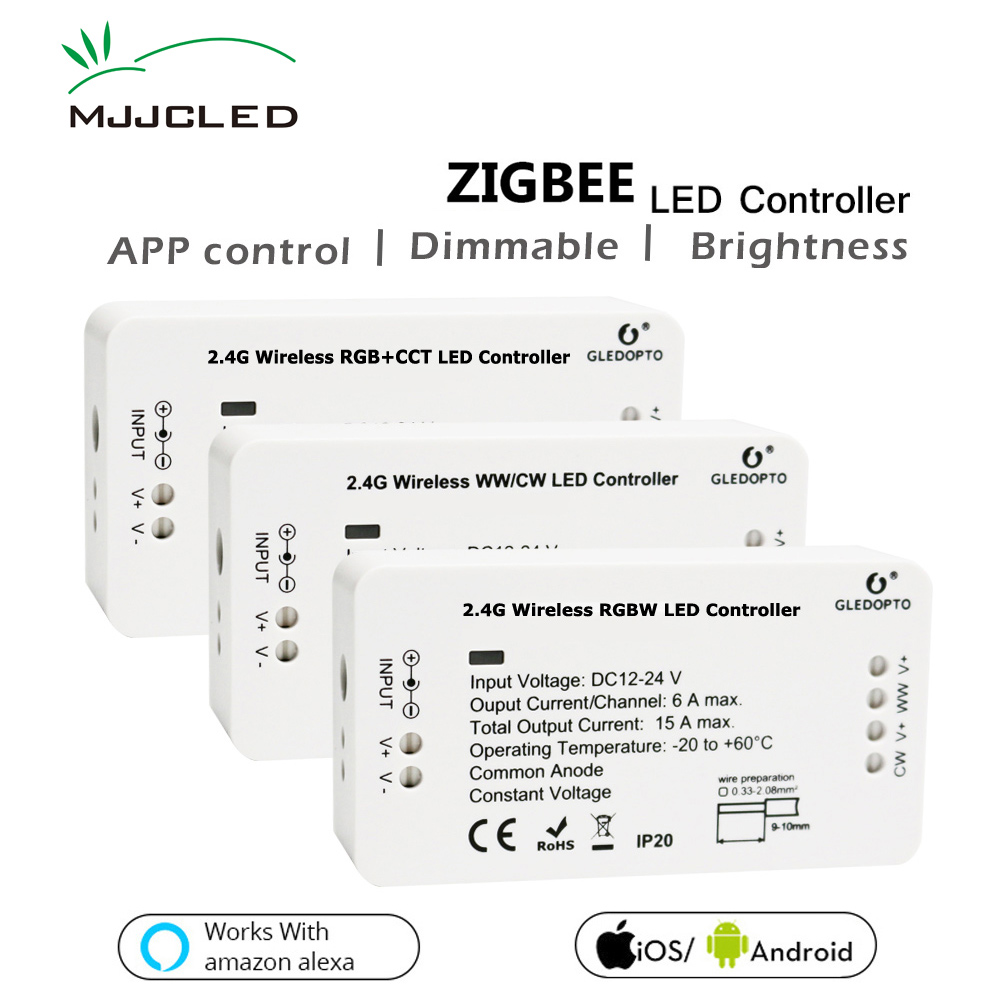 Zigbee LED Controller RGB CCT WW/CW Zigbee Dimmer LED DC 12V 24V LED Strip Controller ZLL APP Controlled RGBW Smart Home RGB smart wifi controller phone app rgb cct dimmer strip controller by amazon echo alexa google home smart voice control rgb strip