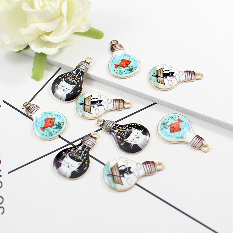 Pendants Charm Necklace Earring Bracelet Lightbulb-Needle Minder Ename 12PCS for 16X27MM title=