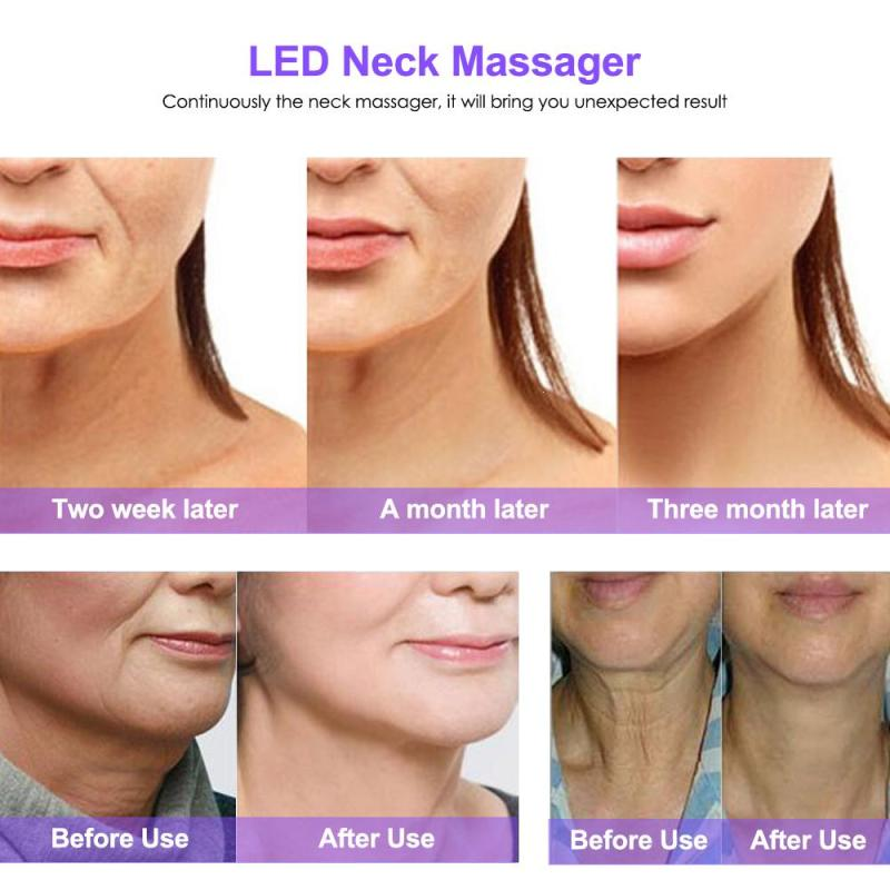 LED Neck Massager Removal Neck wrinkle Therapy Three Mode Magnetic Heat Frequency Vibration Skin Care Anti Ageing AntiWrinkle C3