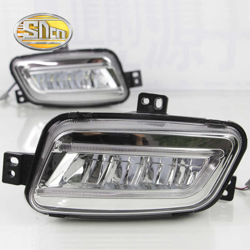 For Ford Everest 2016~2019 Daytime Running Light DRL LED Fog Lamp Cover With Yellow Turning Signal Functions