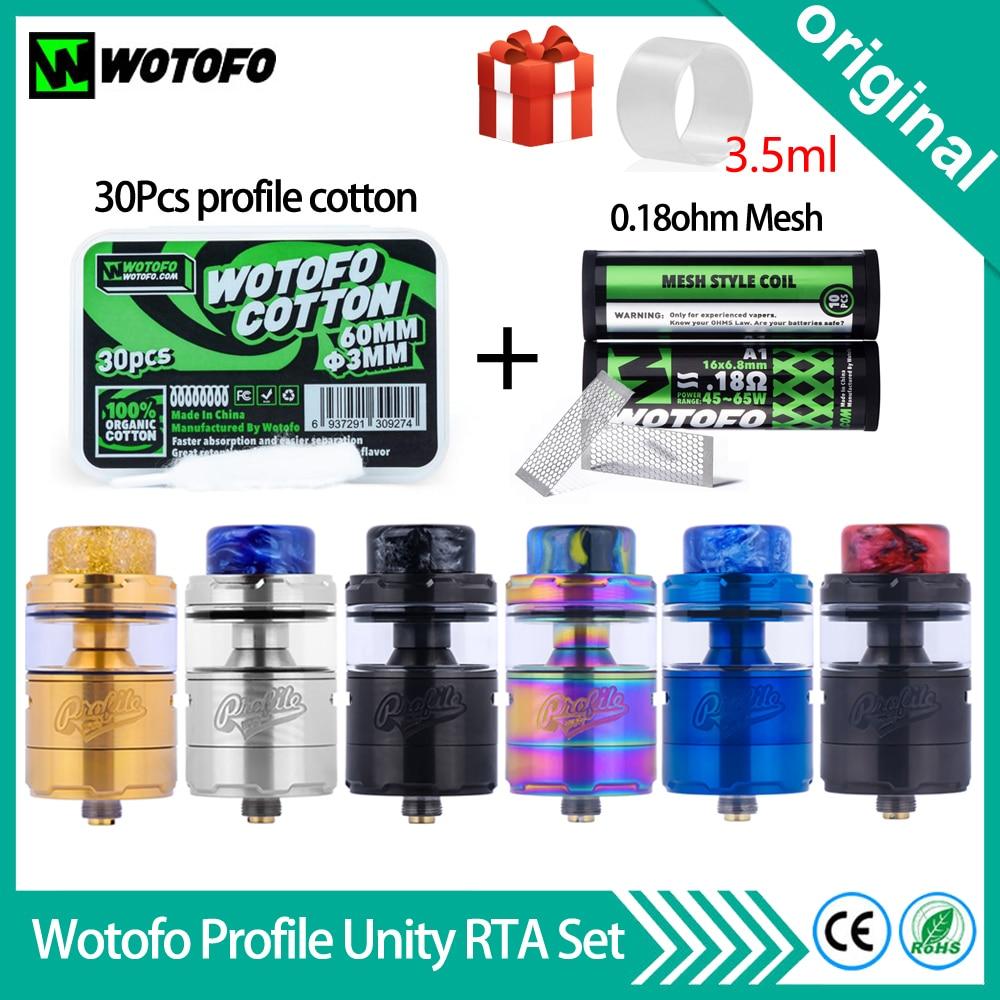 Original Wotofo Profile Unity RTA Tank 25mm RTA Atomizer With 30Pcs 3mm Profile Cotton 10Pcs 0