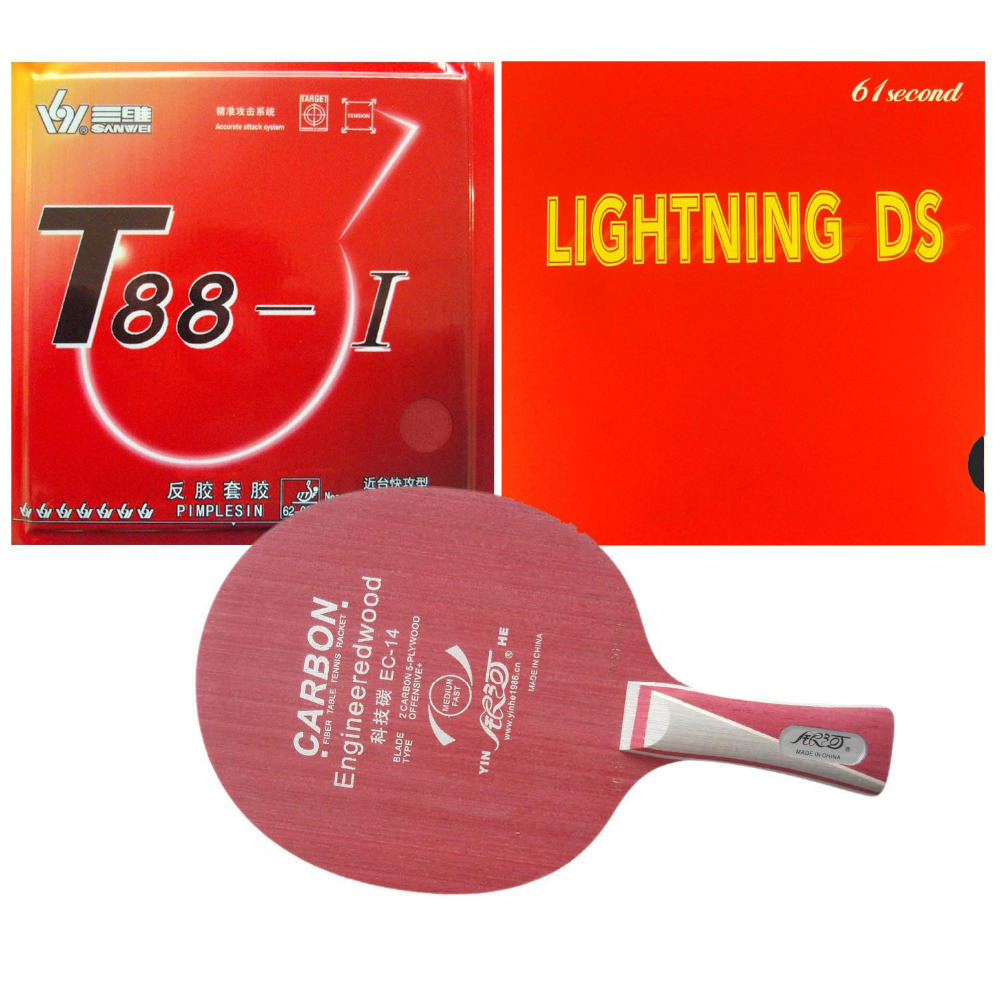 Pro Table Tennis PingPong Combo Racket  Galaxy EC-14 With Sanwei T88-I And 61second DS Rubber With Sponge Long Shakehand FL