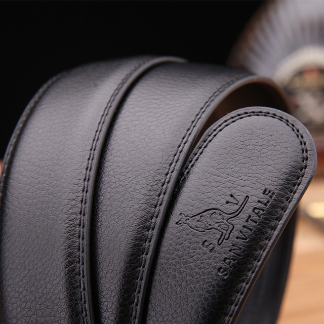 100% Genuine Leather Automatic Buckle Belt For Men