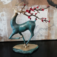 Sika Deer Statues for Decoration Home Office Vintage Copper Sculpture Bedroom Decor Accessories Figurines Easter Deer Ornaments