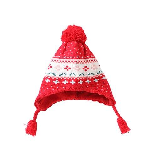 Новые зимние толстые детские шляпа милый цветок красный шапка+ шарф теплую шапку для девочек детей Рождественский подарок фото реквизит BMZ86 - Цвет: Hat