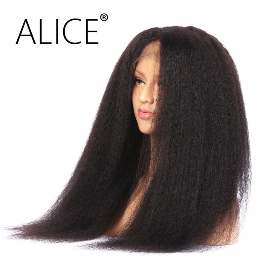 ALICE 250 Density Lace Front Wig Kinky Straight Brazilian Remy Hair Pre Plucked Full Lace Front Wigs With Baby Hair For Beauty