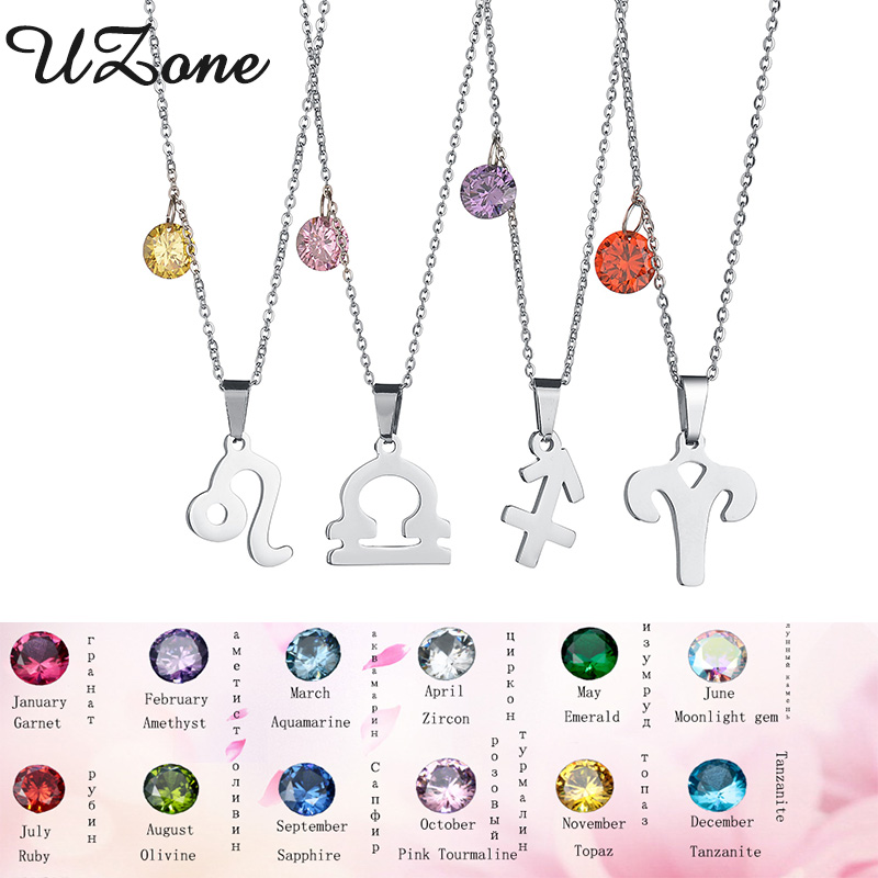UZone 12 Zodiac Signs Constellations Pendants Necklace 12 Birthday Stone Constellations Necklace Special Gift For Women