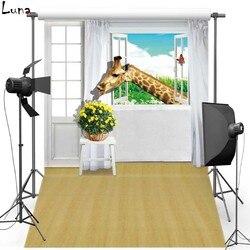 MEHOFOTO żyrafa Vinyl fotografia tło dla dzieci podłogi z drewna nowe tkaniny flanelowe tło dla Photo rekwizyty studyjne 1710