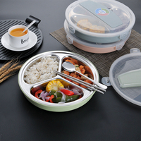 3 Compartments With A Spoon And Chopsticks 304 Large Capacity Stainless Steel Insulation Lunch Box