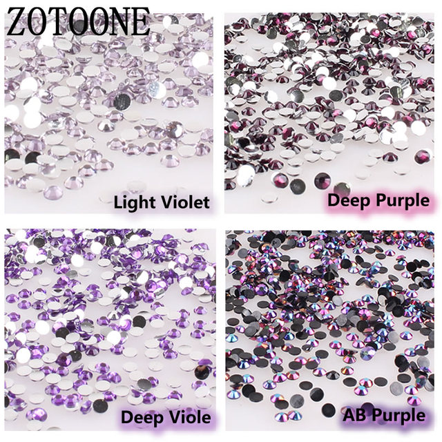 ZOTOONE Nail Art Rhinestone 1000pcs 3-5MM Size Purple Glass Flatback  Crystal Glue on Rhinestones c82abe6c107b