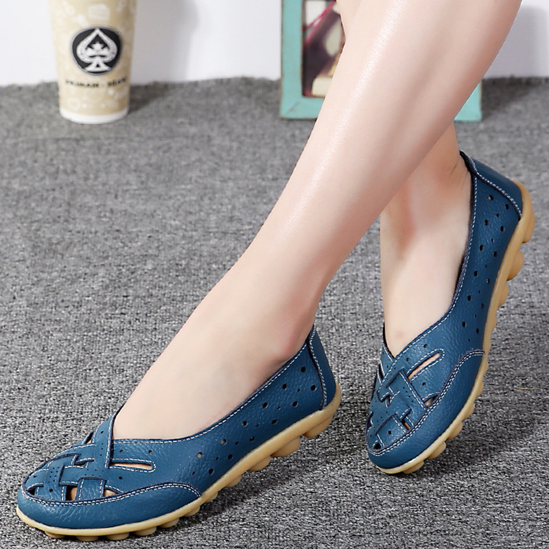 Summer Women Flats New Fashion PU Leather Shoes Moccasins Comfortable Loafer Cut-outs Leisure 2017 Flat Women Casual Shoes DT948 2017 summer new women fashion leather nurse teacher flats moccasins comfortable woman shoes cut outs leisure flat woman casual s