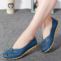 Summer New Fashion PU Leather Flats Woman Shoes Moccasins Comfortable Loafer Cut Outs Leisure 2017 Flat
