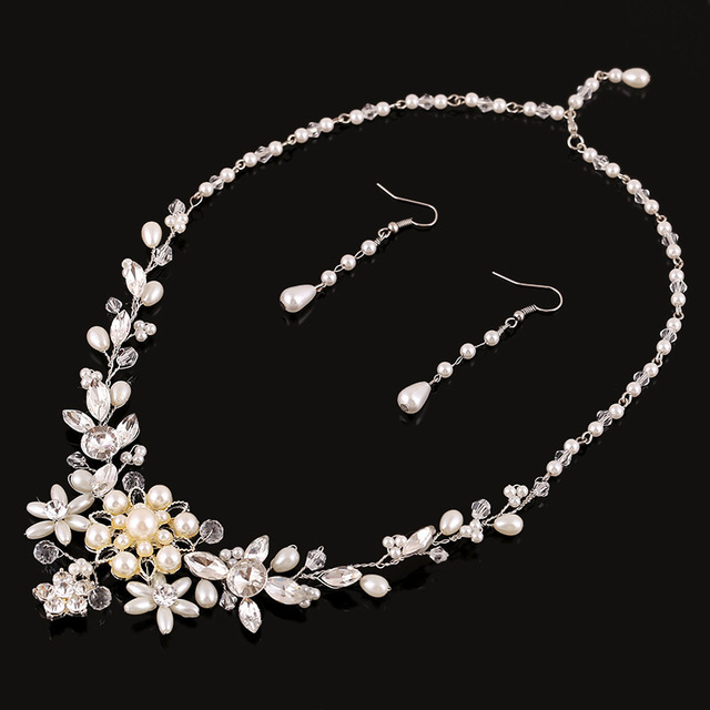 100% handmade jewelry sets bridal wedding dress accessories fine jewelry crystal necklace earring accessories