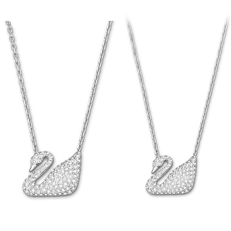 2018 Fashion Classic SWA Swan Necklace White Rhodium Necklace Has Logo Free Mail