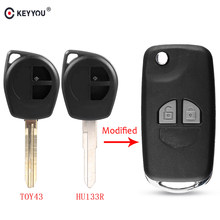 KEYYOU 2 Button Modified Flip Folding Car Remote Key Case Shell For Suzuki SX4 Swift Grand Vitara Key Fob Cover + Button Pad(China)