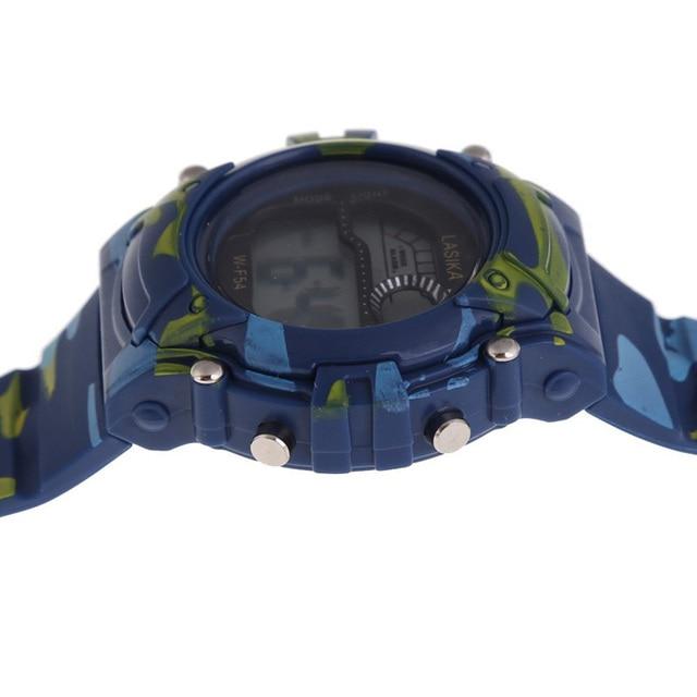 Bambini Delle Ragazze del Ragazzo Orologi Camouflage Analogico Al Quarzo LED Digital Alarm Data Della Vigilanza di Nuoto di Gomma di Sport Militare Orologio Da Polso Impermeabile
