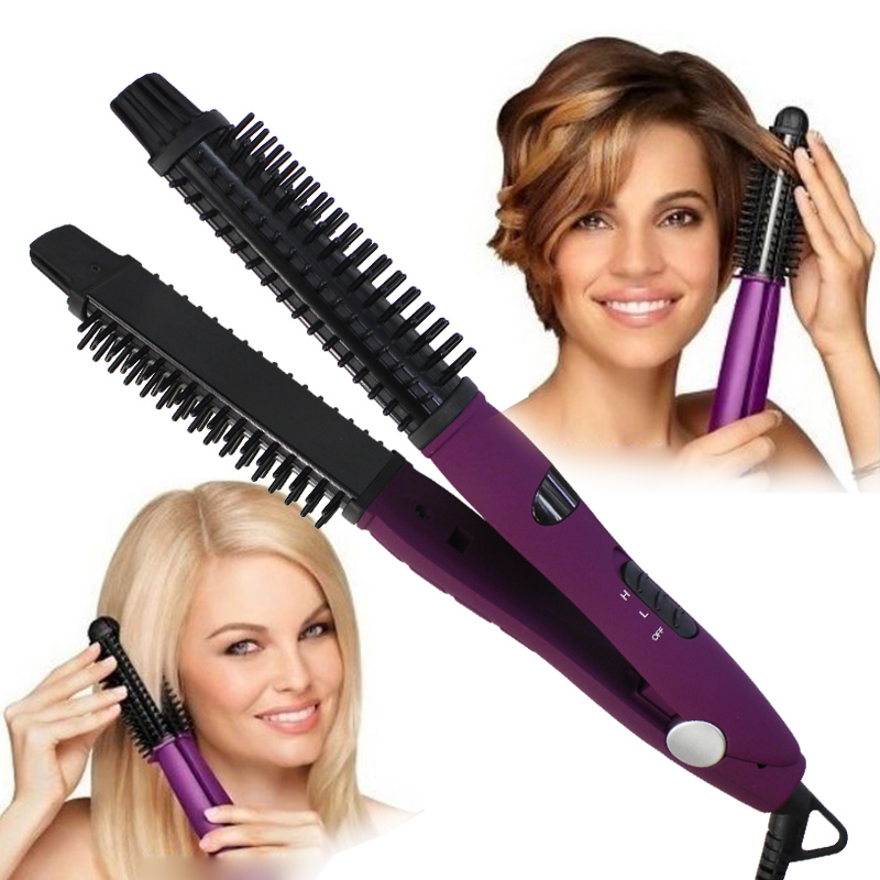 4 in 1 Ceramic Styler Hair Straightener & Curler Brush Curling Iron Shine Volumize Pro Styling Hair Brush Flat Irons 110-240V4 in 1 Ceramic Styler Hair Straightener & Curler Brush Curling Iron Shine Volumize Pro Styling Hair Brush Flat Irons 110-240V