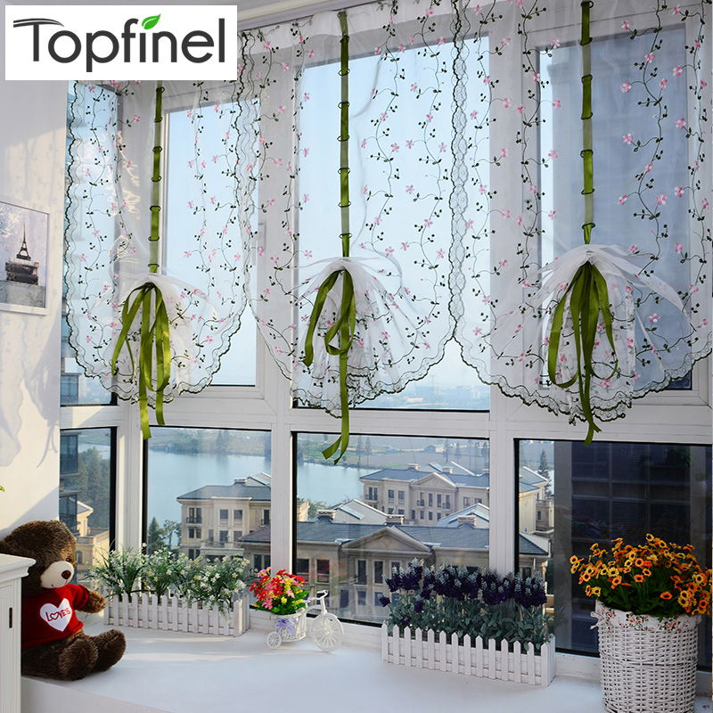 Top Finel Voile Window Treatment Roman Curtain Blinds Embroidered Tulle Sheer Curtains for Kitchen Living Room the Bedroom Panel