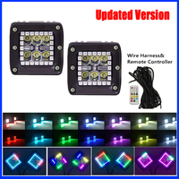 2x 18W Led Work Light Bar 3x3 Pod Cubes With RGB Halo Ring Kits Multicolor Changing