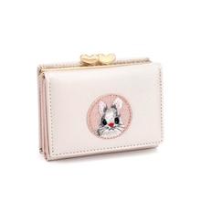 Милый женский кошелек с несколькими карточками, тканевые наклейки с кроликом, папка для смены, японский кавайный короткий многофункциональный кошелек для монет, набор для карт