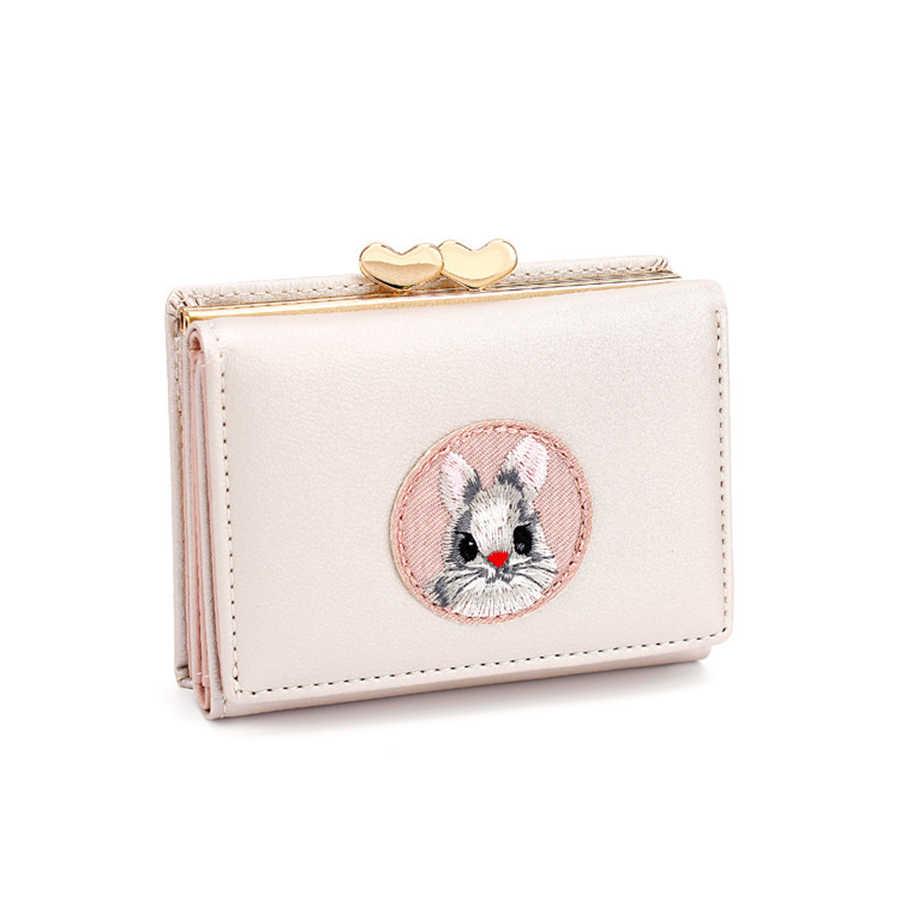 Bonito multi-card carteira feminina coelho pano adesivos mudar pasta japonês kawaii menina curto multi-função moeda bolsa cartão conjunto