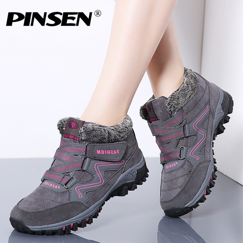 все цены на PINSEN 2018 Winter Women Snow Boots High Quality Leather Suede Warm Plush Warm Ankle Boots Women Waterproof Rain Boots Shoes