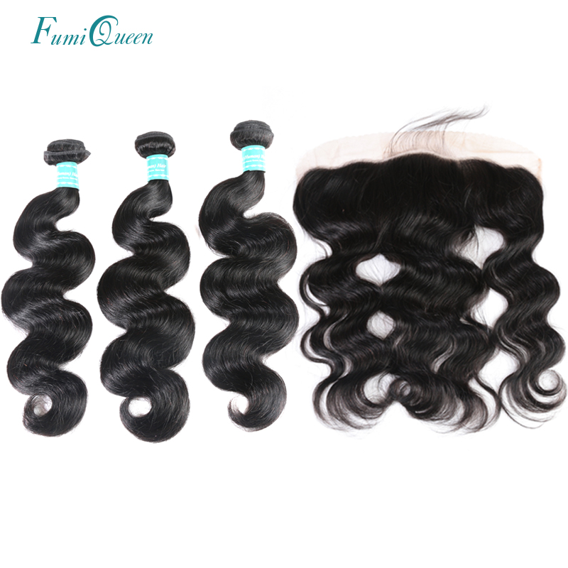 Ali Fumi Queen Hair 13x4 Lace Frontal Closure With 3 Bundles Brazilian Body Wave Human Hair Bundles With Lace Closure Remy Hair