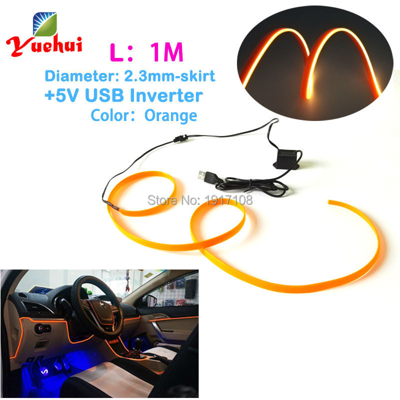 For Car Party Decoration 2.3mm-Skirt 1Meter EL wire flexible Neon glowing Lamp Led thread rope tube light With 5V USB Driver
