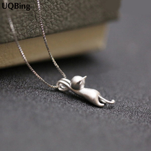 925-Sterling-Silver Necklaces Pendants Jewelry-Collar Colar-De-Plata 925-Kitty Cats