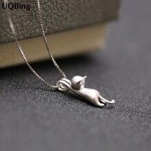 925 Sterling Silver Necklaces Cats Pendants&Necklaces Pure Sterling Silver 925 Kitty Necklace Jewelry Collar Colar de Plata