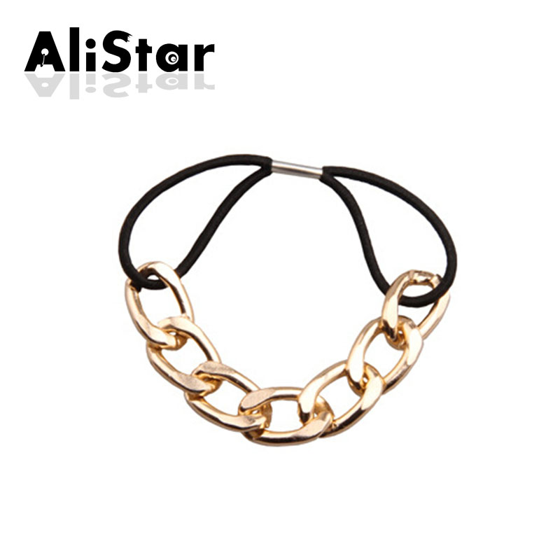 Fashion cool girls elastic hair bands link chain design gold silver hair ropes for women punk hair ropes head wear #JH038