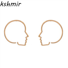 2018 fashion face contour stud earrings earrings accessories female exaggerated hollow-out alloy earrings vintage hollow out pattern spiral stud earrings
