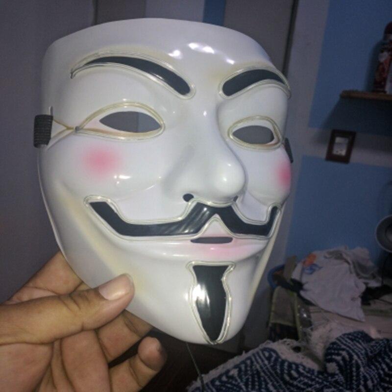 Halloween Mask Vendetta EL Wire Mask Flashing Cosplay LED MASK ...