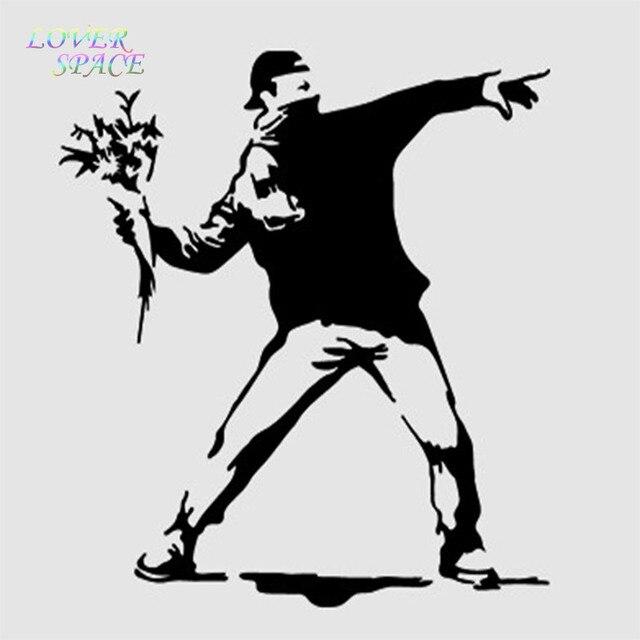 banksy wall decal sticker vinyl street art graffiti bedroom flower