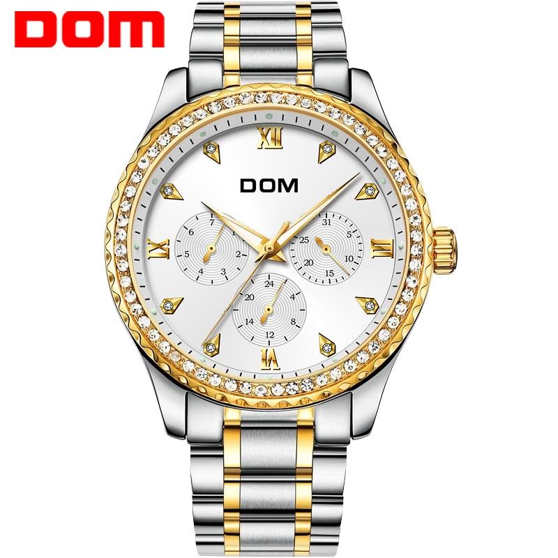 2018 DOM Merk Gouden Polshorloge Mannen Luxe Beroemde Mannelijke Klok - Herenhorloges