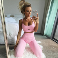 ZELLY New Fashion Pink Tracksuit Sexy Bodybuilding Women Workout Leggings Crop Top Two Piece Set Fitness Clothing Suit Sets