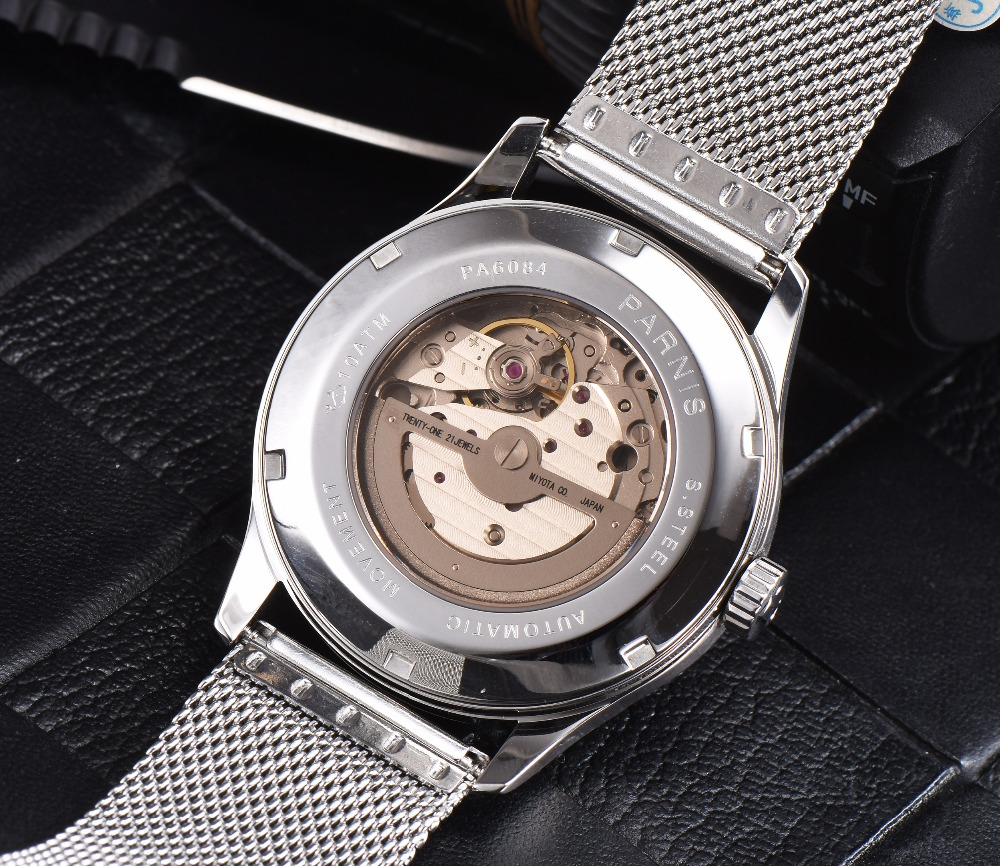New Arrival 2017 Hot Parnis Automatic Watch Men Ultra Thin Mesh Steel Band Leather Strap Men Mechanical Watches horloge mannen