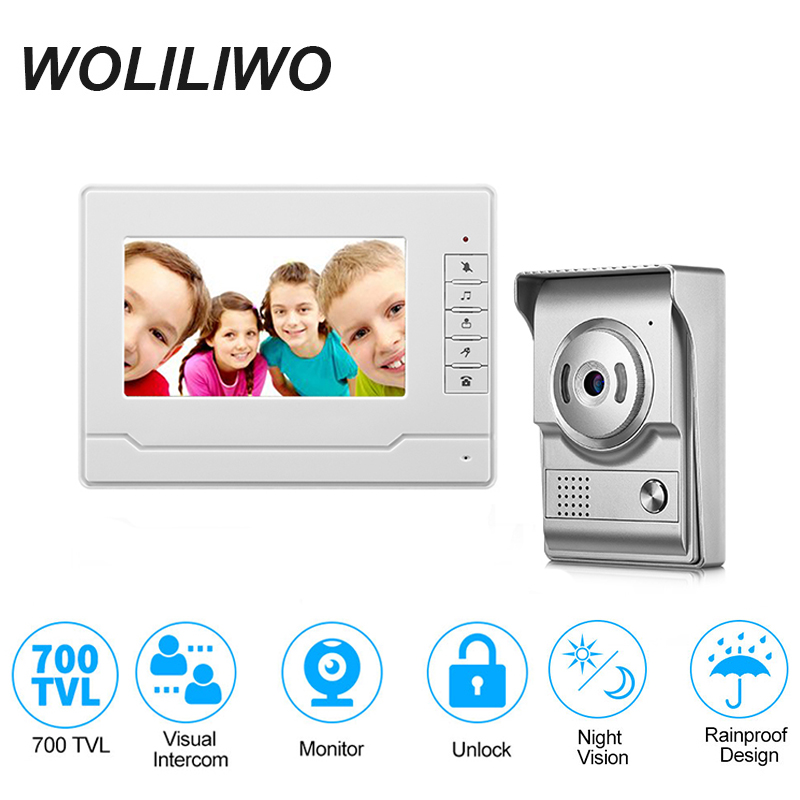 Wired 7''Inch Video Doorphone  Intercom System With Dual-way Intercom,Monitor,Unlock,IR Night Vision Camera For  Private Homes