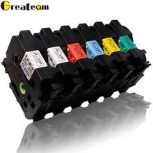 Greateam 6pcs TZ151 TZ251 TZ451 TZ551TZe-651 TZe-751 Compatible for Brother P-Touch TZ Printer Ribbon for Label Printer PT-210 printer ribbon 81733 ymcko ribbon 250rints roll for persona 81733 card printer
