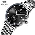 WWOOR Brand 50m Waterproof Watch Men Quartz Analog Hour Date Clock Luxury Sports Men Watches Male Steel Strap Casual Wrist Watch