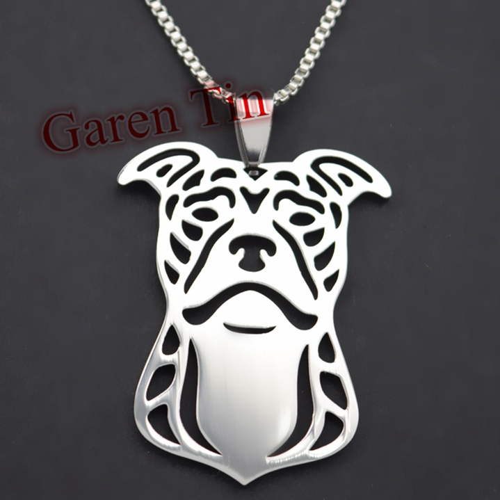American Pit Bull Terrier Stainless Steel Pendant Natural Ears Pitbull Charms Pit Bull Dog