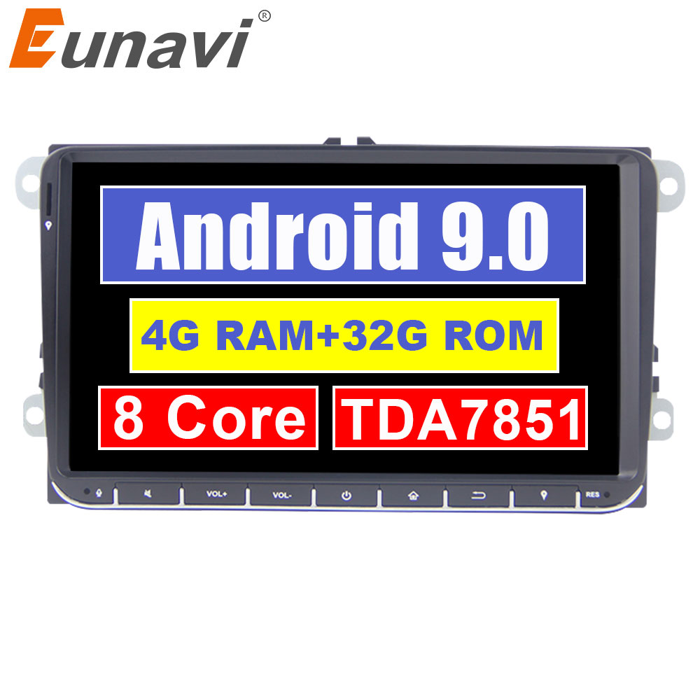 Eunavi 2 din Android 9.0 Car Radio GPS for VW Passat B6 CC Polo GOLF 5 6 Touran Jetta Tiguan Magotan Seat 9'' screen with button