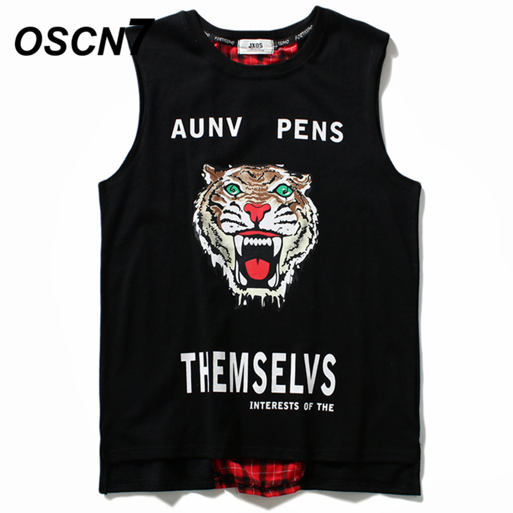 OSCN7 Fashion Graphics Print Sleeveless Men's Casual   Tank     Tops   Men 2019 Summer Hip Hop Streetwear Trend   Tank     Tops   Men MB10