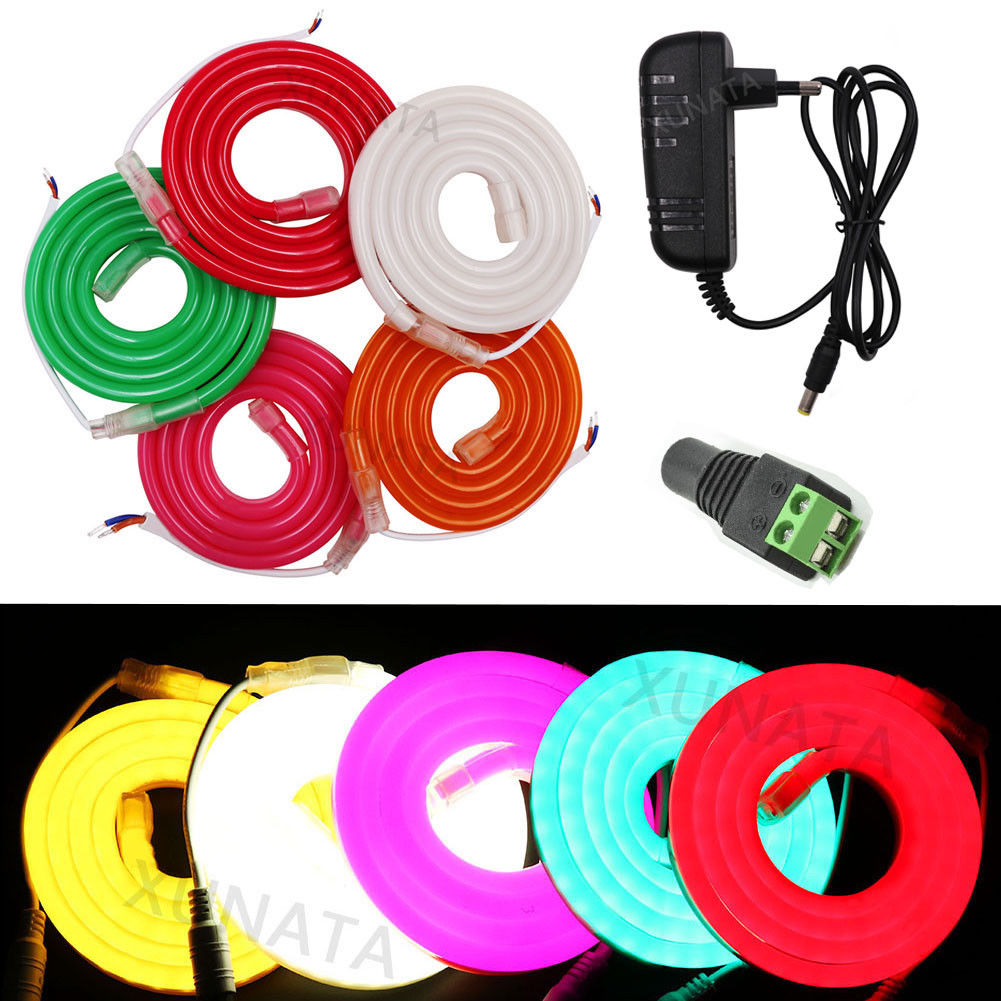 1m 2m 5m 10m Flex LED Neon Rope Outdoor Advertising  Character Lamp Waterproof IP68 SMD 2835 LED Strip Light DC12V 7X12MM