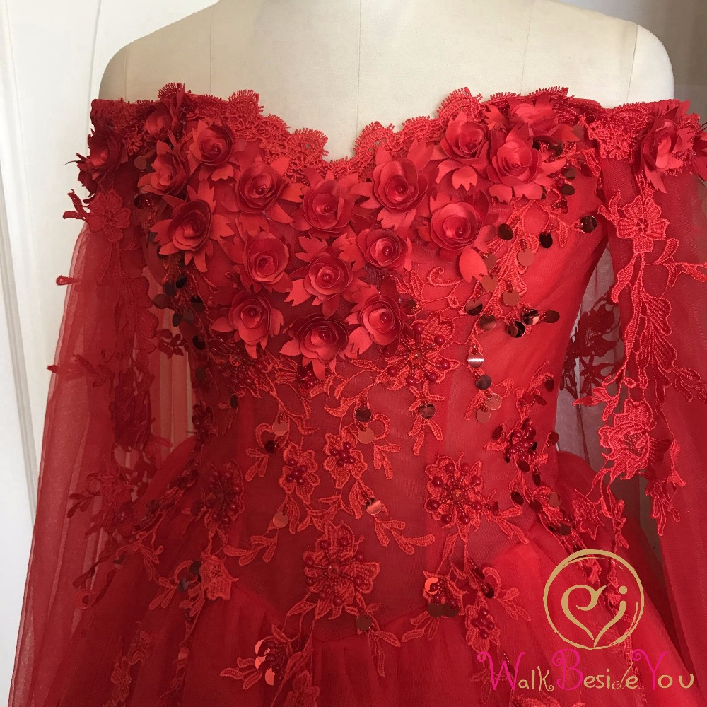 Image 4 - Walk Beside You Red Evening Dresses Off Shoulder Flower Lace Applique Sequined Prom Gowns Chapel Train Vestidos Largos De Noche-in Evening Dresses from Weddings & Events