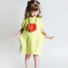 big red flower yellow green children's linen dress new children's clothing for summer Europe America style girls Princess dress