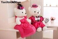 Große 60 cm pink brautkleider teddybären plüschtier liebe paare bears weiche puppe vorschlag, hochzeitsgeschenk w2987